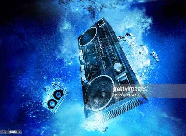 ghetto blaster underwater - music box stock pictures, royalty-free photos & images