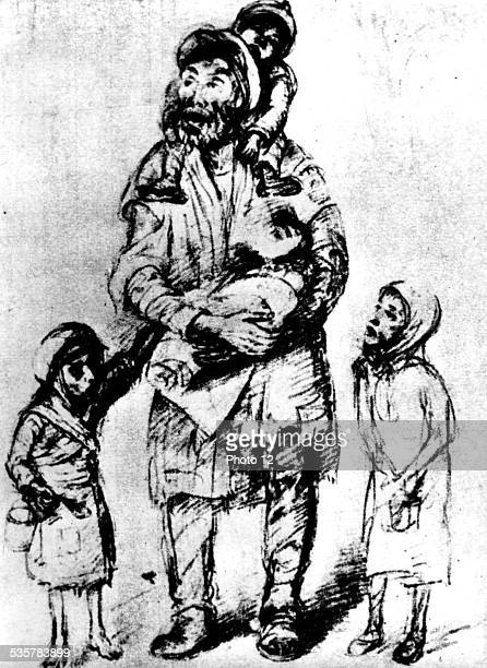 Ghetto in Warsaw. Drawing by Roman Kramsztyk . Man and children, 20th, Poland - World War II, Jewish Documentation Center, .