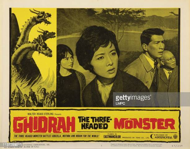 Ghidrah lobbycard THE THREE HEADED MONSTER from left Akiko Wakabayashi Yosuke Natsuki Yuriko Hoshi Takashi Shimura 1964