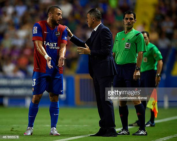 Ghilas of Levante speaks with Levante UD manager Lucas Alcaraz during the La Liga match between Levante UD and Sevilla FC at Ciutat de Valencia...