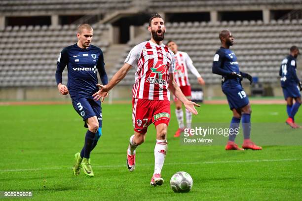 Ghislain Gimbert of AC Ajaccio reacys after getting caught offside during the Ligue 2 match between Paris FC and AC Ajaccio on January 22 2018 in...
