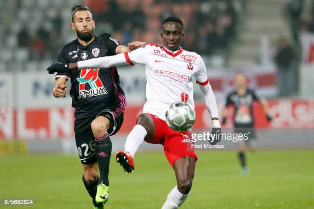 Ghislain Gimbert of Ajaccio and Modou Diagne of Nancy during the Ligue 2 match between AS Nancy and AC Ajaccio on November 17 2017 in Nancy France