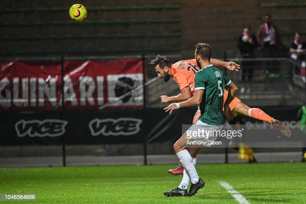 Ghislain Gimbert of Ajaccio and Mourad Satli of Red Star during the Ligue 2 match between Red Star and AC Ajaccio at Stade Pierre Brisson on October...