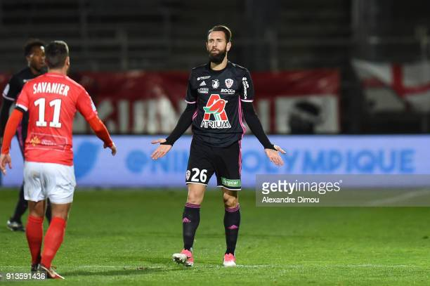 Ghislain Gimbert of Ajaccio during Ligue 2 match between Nimes and AC Ajaccio at Stade des Costieres on February 2 2018 in Nimes France
