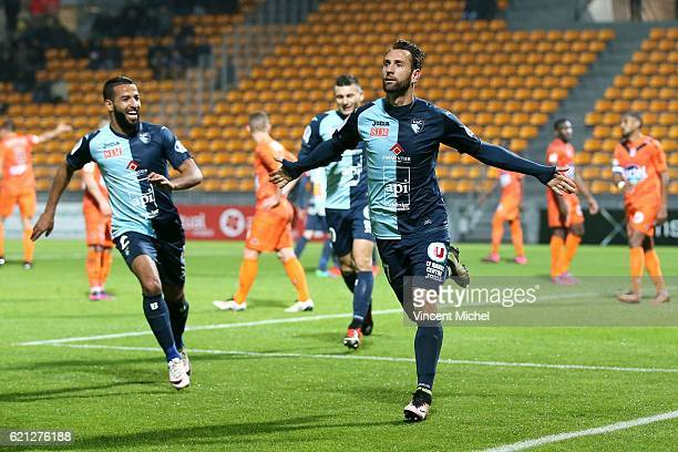 Ghislain Gimbert of Le Havre celebrates during the Ligue 2 match between Stade Lavallois and Le Havre AC on November 4 2016 in Laval France