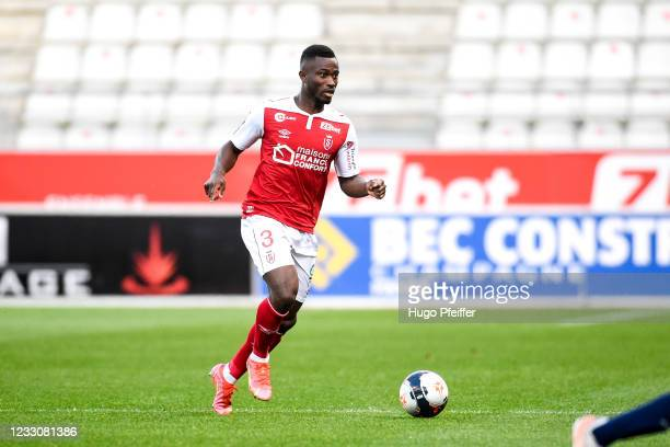 Ghislain KONAN of Reims during the Ligue 1 match between Reims and Girondins Bordeaux at Stade Auguste Delaune on May 23, 2021 in Reims, France.