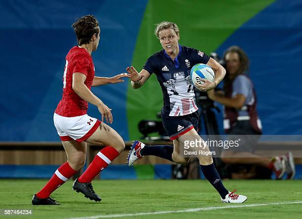 Ghislaine Landry of Canada tackles Danielle Waterman of Great Britain during the Women's Bronze Medal Rugby Sevens match between Canada and Great...