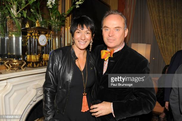Ghislaine Maxwell and Christopher Mason attend BREAKFAST WITH LUCIAN by Geordie Greig at Private Residence on October 21 2013 in New York City