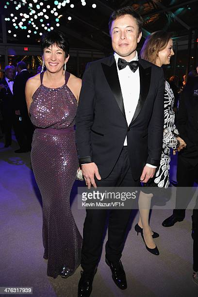 Ghislaine Maxwell and Elon Musk attend the 2014 Vanity Fair Oscar Party Hosted By Graydon Carter on March 2 2014 in West Hollywood California