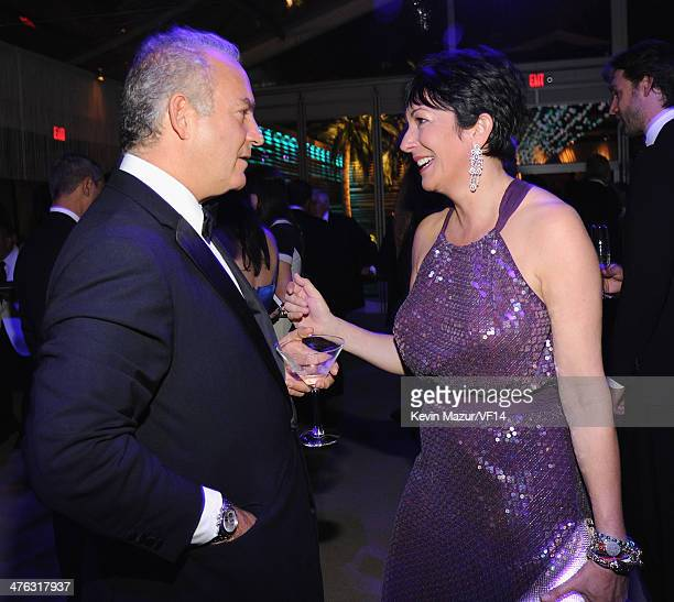 Ghislaine Maxwell and guest attend the 2014 Vanity Fair Oscar Party Hosted By Graydon Carter on March 2 2014 in West Hollywood California