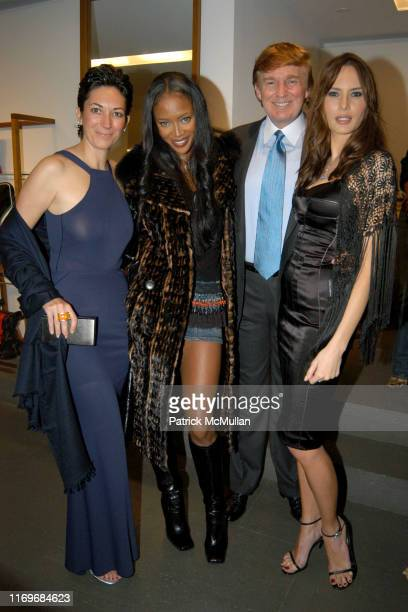Ghislaine Maxwell Naomi Campbell Donald Trump and Melania Knauss attend Dolce Gabbana Opening at Dolce Gabbana on November 11 2002 in New York City