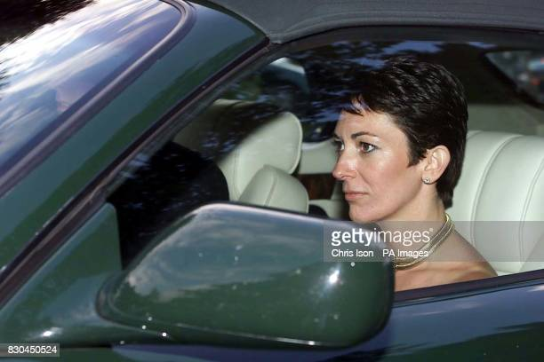 Ghislaine Maxwell with the Duke of York leaves the wedding of a former girlfriend of the Duke Aurelia Cecil at the Parish Church of St Michael in...