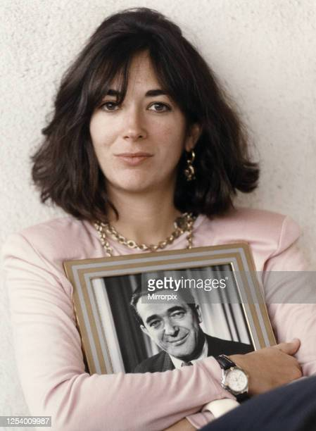 Ghislaine Maxwell youngest child of media proprietor and fraudster Robert Maxwell holding a framed photograph of her late father Jerusalem Israel 9th...