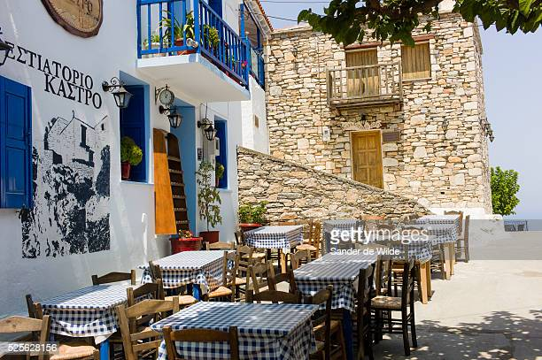 Ghlossa, Greece 8th August 2012. The mainstreet in the touristic village of Ghlossa, on the island Skopelos. These terraces of restaurants and bars...