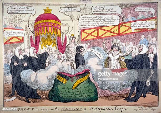 'Ghost as seen in the Hamlet of St Stephen's Chapel' 1820 A scene in the House of Lords at the trial of Queen Caroline the Queen throws up her arms...