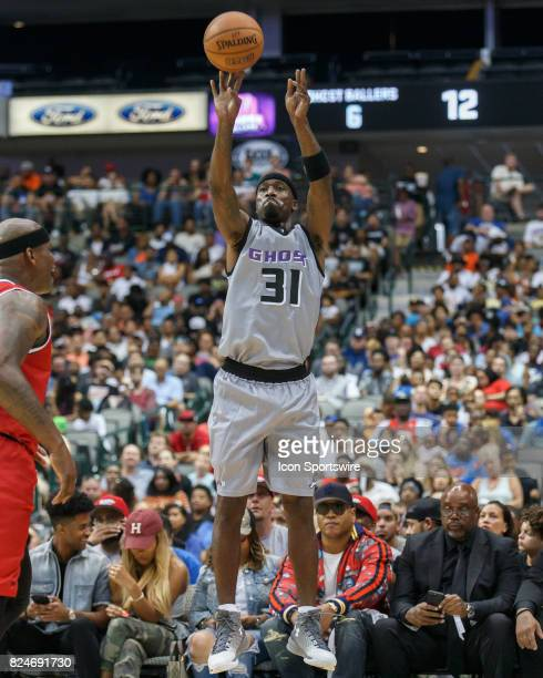 Ghost Ballers guard Ricky Davis takes a shot during the Big3 basketball game between the Ghost Ballers and Trilogy on July 30 at the American...