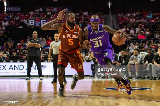 Ghost Ballers player Ricky Davis drives to the basket during the first half of the BIG3 basketball game between the Ghost Ballers and Bivouac on June...