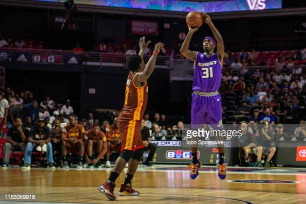 Ghost Ballers player Ricky Davis shoots the ball during the first half of the BIG3 basketball game between the Ghost Ballers and Bivouac on June 30...