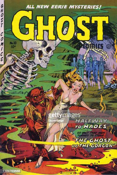 Ghost Comics cover features an illustration of a woman as she attempts to run away but is held by a wolflike creature with human arms and leg while...