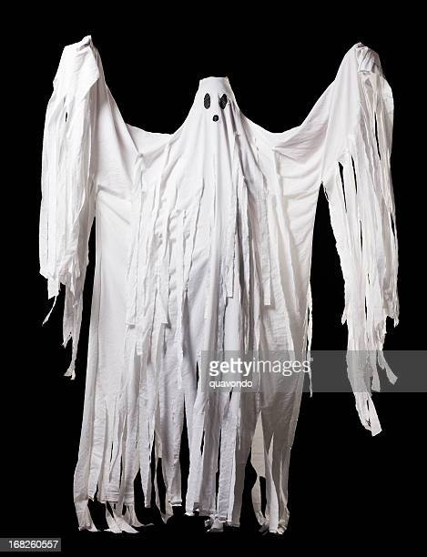 Ghost Halloween Costume, Full Body Portrait on Black