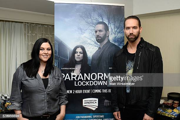 Ghost hunter Katrina Weidman and host Nick Groff attend ComicCon International 2016 Destination America's Supernatural press conference at Hilton...