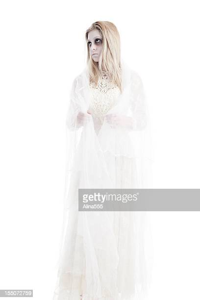 ghost of a young girl in white dress - zombie face stock photos and pictures