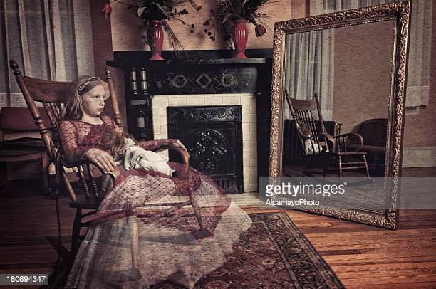 ghost of little girl sitting in the rocker chair (i) - elizabethan style stock photos and pictures