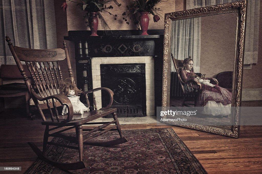 Ghost of little girl sitting in the rocker chair (II)  Stock Photo & Ghost Of Little Girl Sitting In The Rocker Chair Stock Photo | Getty ...