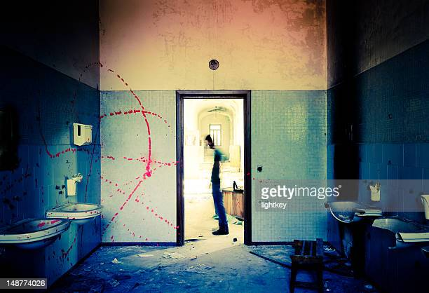 ghost on the way - blood in sink stock pictures, royalty-free photos & images