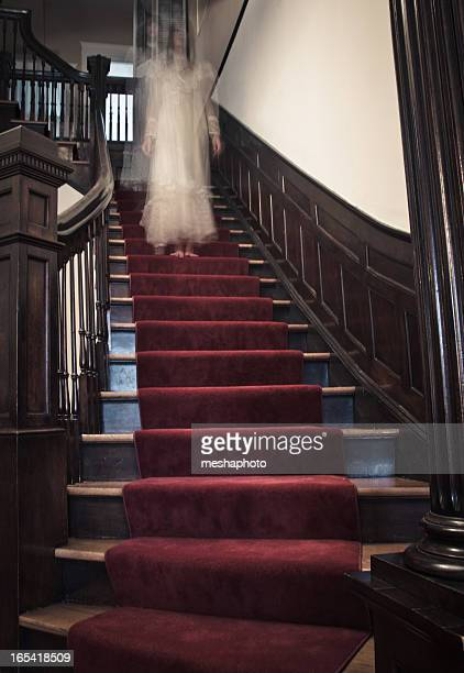 ghost woman on haunted staircase - ghost stock pictures, royalty-free photos & images