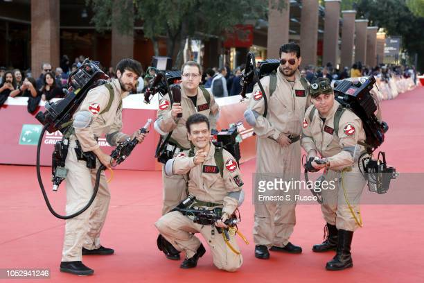 Ghostbusters cosplays pose on the red carpet during the 13th Rome Film Fest at Auditorium Parco Della Musica on October 24 2018 in Rome Italy