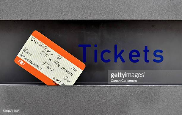 Ghostbusters ticket at Waterloo Station on July 11, 2016 in London, England. Ghostbusters take over Waterloo Station as Stay Puft Marshmallow Man...