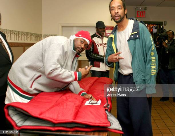 Ghostface Killah handing out a Troop sleeping bag during Ghostface Gives Away Sleeping Bags To The Homeless at The Bowery Mission in New York City...