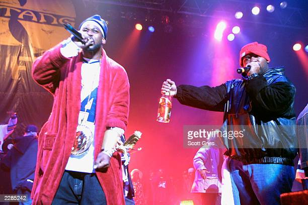 Ghostface Killah on left and Raekwon of the WuTang Clan performs during a party to celebrate the release of their new album 'Iron Flag' at the...