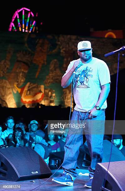 Ghostface Killah performs onstage with BADBADNOTGOOD during day 3 of the 2015 Life is Beautiful festival on September 27 2015 in Las Vegas Nevada