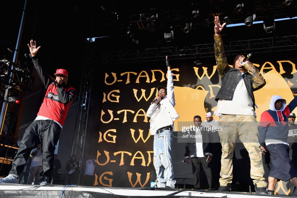 Ghostface Killah, RZA, GZA, U-God and Cappadonna of Wu-Tang Clan perform on the Colossal Stage during Clusterfest at Civic Center Plaza and The Bill Graham Civic Auditorium on June 3, 2018 in San Francisco, California.