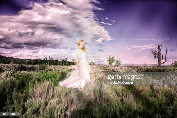 Ghostly Maiden in a sagebrush prairie