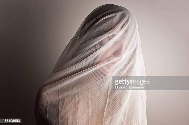 ghostly - wedding veil stock photos and pictures