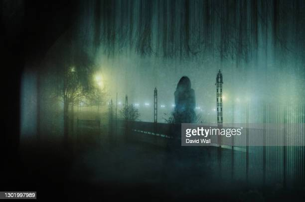 a ghostly transparent woman. standing in a park. on an atmospheric winters night. with a grunge, blurred vintage edit. - women wearing see through clothing stock pictures, royalty-free photos & images