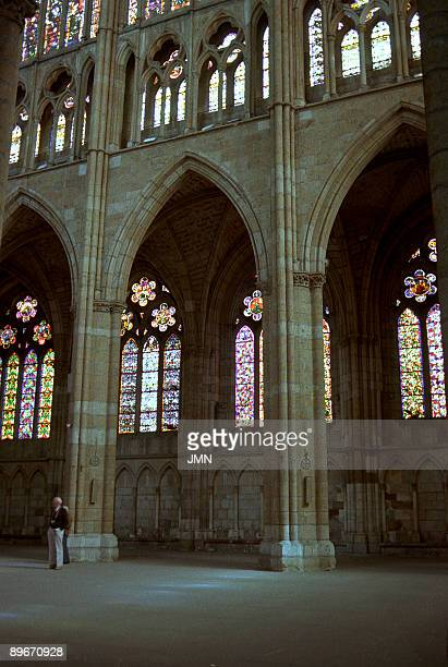 Ghotic Cathedral of Leon 10th Century Central nave and stained glass windows