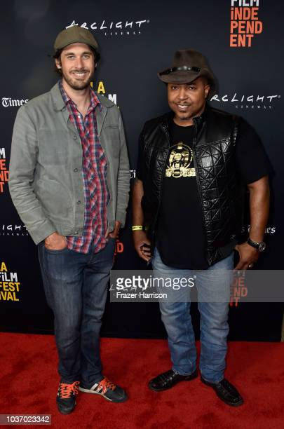 Ghuan Featherstone and Brett Fallentine attend 2018 LA Film Festival Opening Night Premiere Of 'Echo In The Canyon' at John Anson Ford Amphitheatre...