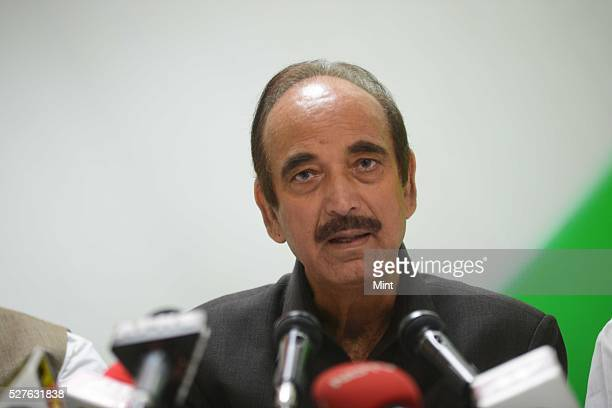 Ghulam Nabi Azad Leader of Opposition in Rajya Sabha addressing media at Congress party office on August 14 2015 in New Delhi India