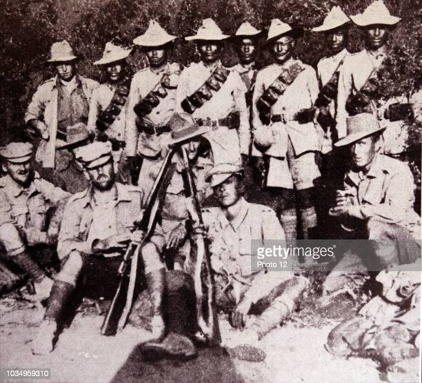 Ghurkhas and their British officers at Gallipoli, during world war one 1915.