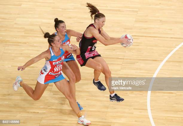 Gia Abernethy of the Thunderbirds in action during the round two Super Netball match between the Sydney Swifts and the Adelaide Thunderbirds at Qudos...