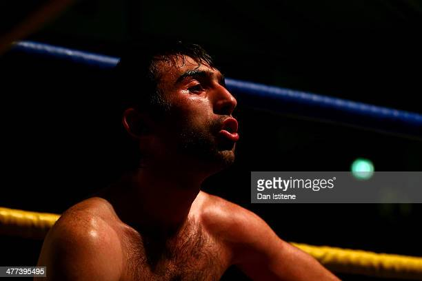 Gia Atenov catches his breath after his International Masters Silver Super Featherweight title bout against George Jupp at York Hall on March 8 2014...