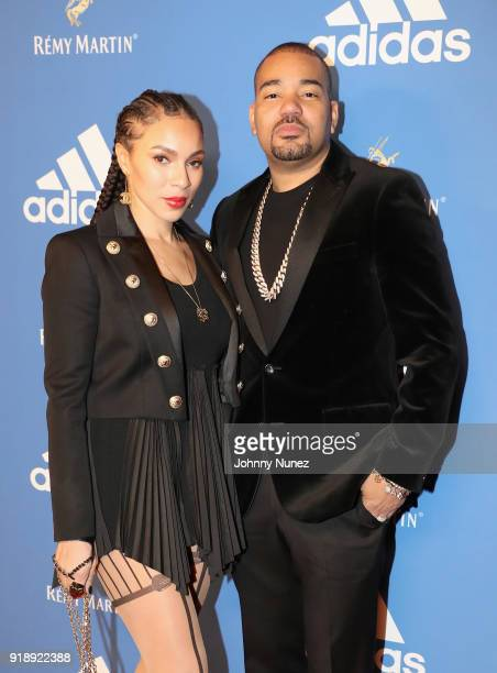 Gia Casey and DJ Envy attend Remy Martin Presents the Adidas Welcome to LA Cocktail Reception at Delilah on February 15 2018 in West Hollywood...
