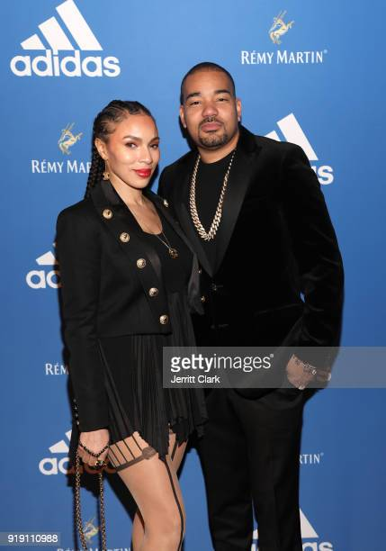 Gia Casey and DJ Envy attend the Adidas Basketball Black Tie Party Presented by Remy Martin at Delilah on February 15 2018 in West Hollywood...