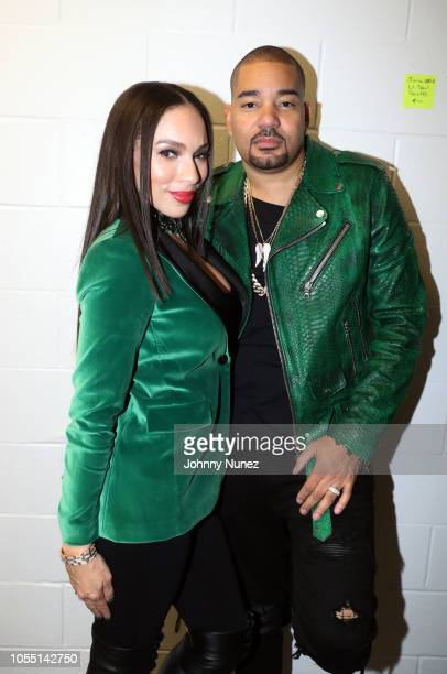 Gia Casey and DJ Envy backstage at 2018 Power1051 Powerhouse NYC at Prudential Center on October 28 2018 in Newark New Jersey