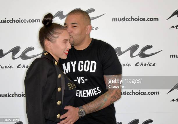Gia Casey and DJ Envy visit Music Choice on February 9 2018 in New York City