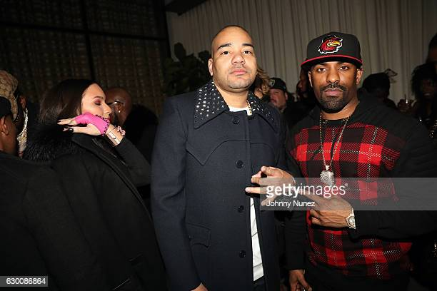Gia Casey DJ Envy and DJ Clue attend the 2016 Def Jam Holiday Party at Spring Place on December 15 2016 in New York City